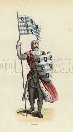 John Sitsylt. Illustration for Costume du Moyen Age, D'Apres les Manuscrits, les Peintures, et les Monuments Contemporains (Bruxelles, Librairie Historique-Artistique, 1847).