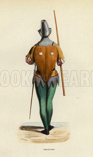 Mercenaire. Illustration for Costume du Moyen Age, D'Apres les Manuscrits, les Peintures, et les Monuments Contemporains (Bruxelles, Librairie Historique-Artistique, 1847).