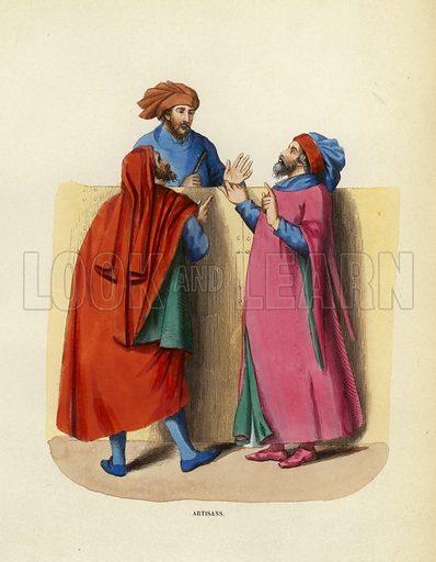 Artisans. Illustration for Costume du Moyen Age, D'Apres les Manuscrits, les Peintures, et les Monuments Contemporains (Bruxelles, Librairie Historique-Artistique, 1847).