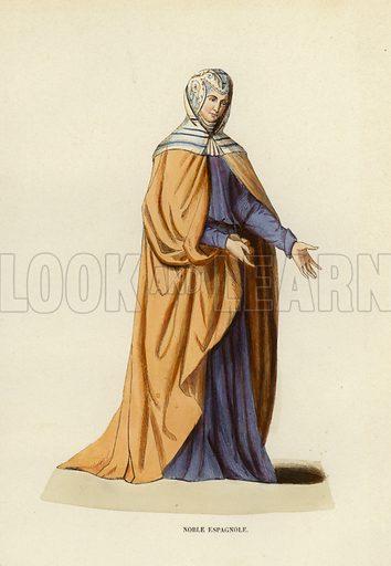 Noble Espagnole. Illustration for Costume du Moyen Age, D'Apres les Manuscrits, les Peintures, et les Monuments Contemporains (Bruxelles, Librairie Historique-Artistique, 1847).