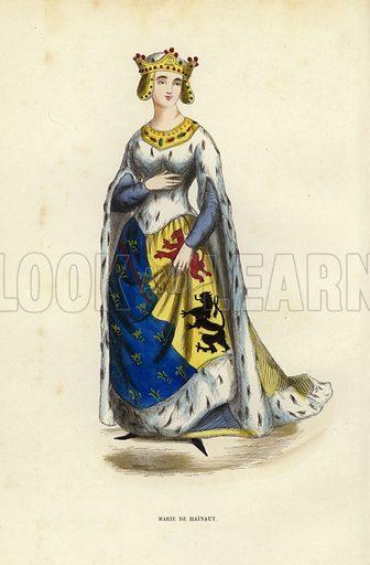 Marie De Hainaut. Illustration for Costume du Moyen Age, D'Apres les Manuscrits, les Peintures, et les Monuments Contemporains (Bruxelles, Librairie Historique-Artistique, 1847).