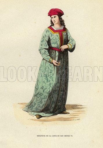 Seigneur De La Cour Du Roi Henri VI. Illustration for Costume du Moyen Age, D'Apres les Manuscrits, les Peintures, et les Monuments Contemporains (Bruxelles, Librairie Historique-Artistique, 1847).