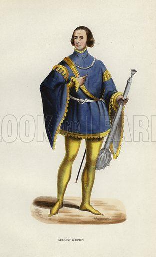 Sergent D'Armes. Illustration for Costume du Moyen Age, D'Apres les Manuscrits, les Peintures, et les Monuments Contemporains (Bruxelles, Librairie Historique-Artistique, 1847).