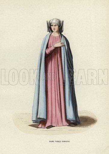 Dame Noble Romaine. Illustration for Costume du Moyen Age, D'Apres les Manuscrits, les Peintures, et les Monuments Contemporains (Bruxelles, Librairie Historique-Artistique, 1847).