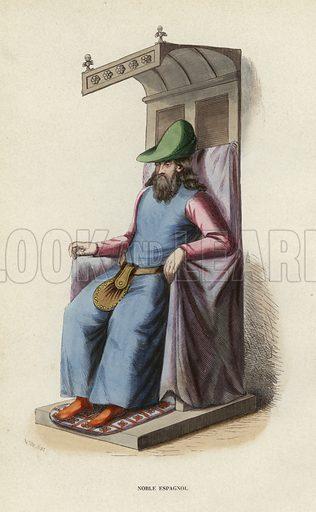 Noble Espagnol. Illustration for Costume du Moyen Age, D'Apres les Manuscrits, les Peintures, et les Monuments Contemporains (Bruxelles, Librairie Historique-Artistique, 1847).