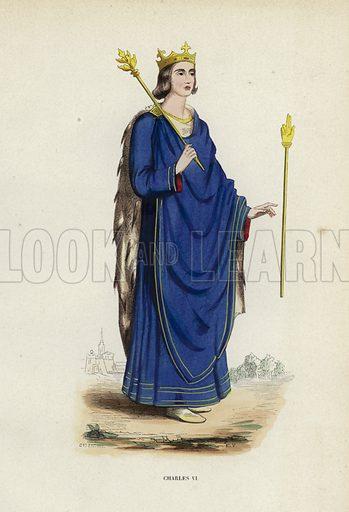 Charles VI. Illustration for Costume du Moyen Age, D'Apres les Manuscrits, les Peintures, et les Monuments Contemporains (Bruxelles, Librairie Historique-Artistique, 1847).