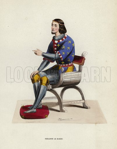 Philippe Le Hardi. Illustration for Costume du Moyen Age, D'Apres les Manuscrits, les Peintures, et les Monuments Contemporains (Bruxelles, Librairie Historique-Artistique, 1847).