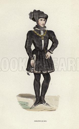 Philippe Le Bon. Illustration for Costume du Moyen Age, D'Apres les Manuscrits, les Peintures, et les Monuments Contemporains (Bruxelles, Librairie Historique-Artistique, 1847).