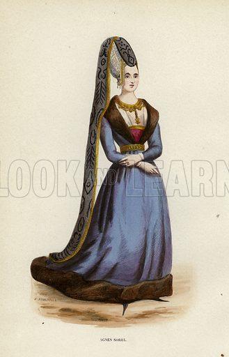 Agnes Sorel. Illustration for Costume du Moyen Age, D'Apres les Manuscrits, les Peintures, et les Monuments Contemporains (Bruxelles, Librairie Historique-Artistique, 1847).