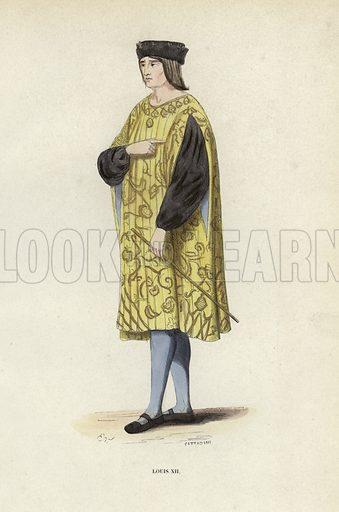 Louis XII. Illustration for Costume du Moyen Age, D'Apres les Manuscrits, les Peintures, et les Monuments Contemporains (Bruxelles, Librairie Historique-Artistique, 1847).