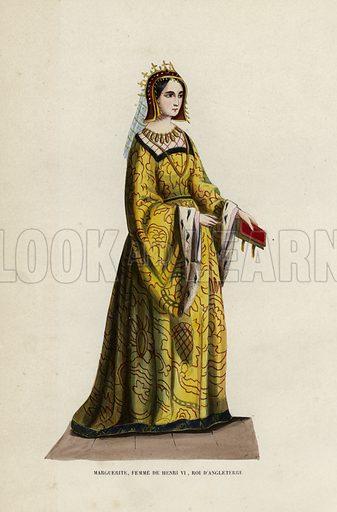 Marguerite, Femme De Henri VI, Roi D'Angleterre. Illustration for Costume du Moyen Age, D'Apres les Manuscrits, les Peintures, et les Monuments Contemporains (Bruxelles, Librairie Historique-Artistique, 1847).