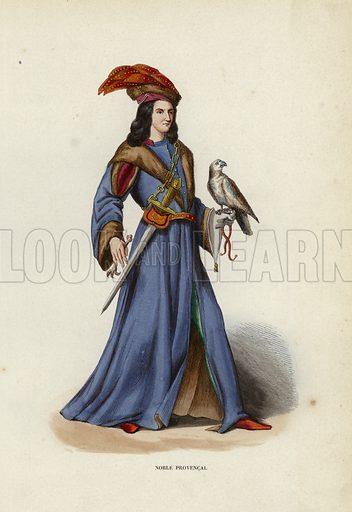 Noble Provencal. Illustration for Costume du Moyen Age, D'Apres les Manuscrits, les Peintures, et les Monuments Contemporains (Bruxelles, Librairie Historique-Artistique, 1847).