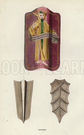 Boucliers. Illustration for Costume du Moyen Age, D'Apres les Manuscrits, les Peintures, et les Monuments Contemporains (Bruxelles, Librairie Historique-Artistique, 1847).