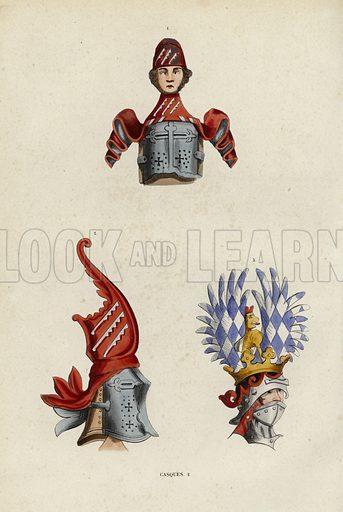 Casques. Illustration for Costume du Moyen Age, D'Apres les Manuscrits, les Peintures, et les Monuments Contemporains (Bruxelles, Librairie Historique-Artistique, 1847).