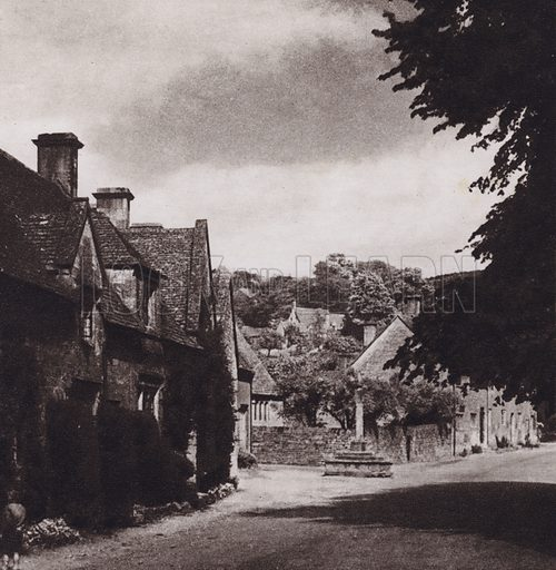 Stanton Village. Illustration for Cotswold Country, A Book of Photographs by S W Colyer (Ward Lock, 1939).  Gravure printed.