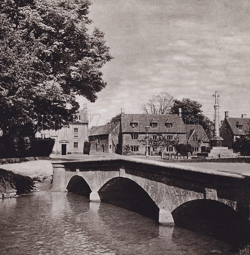 Bourton-On-The-Water. Illustration for Cotswold Country, A Book of Photographs by S W Colyer (Ward Lock, 1939).  Gravure printed.