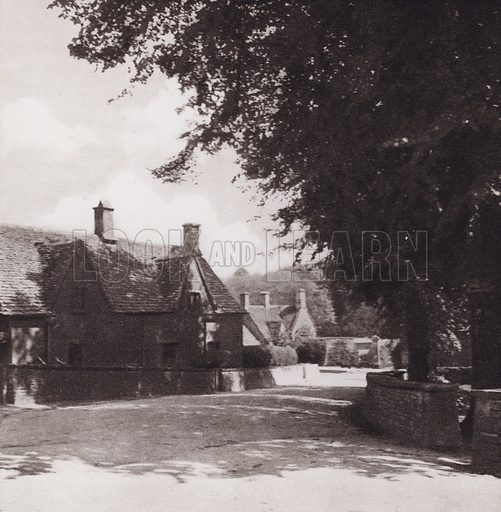 Bibury Village. Illustration for Cotswold Country, A Book of Photographs by S W Colyer (Ward Lock, 1939).  Gravure printed.