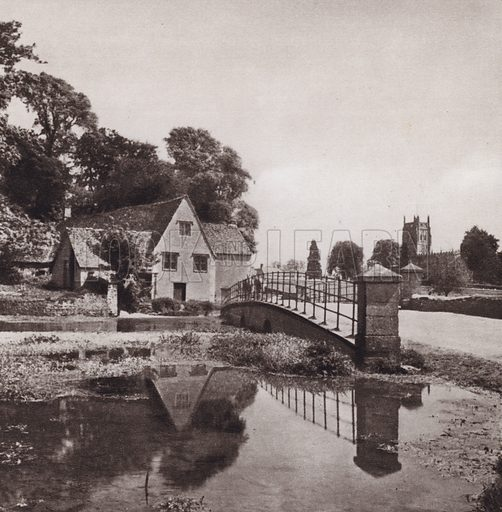 Fairford. Illustration for Cotswold Country, A Book of Photographs by S W Colyer (Ward Lock, 1939).  Gravure printed.