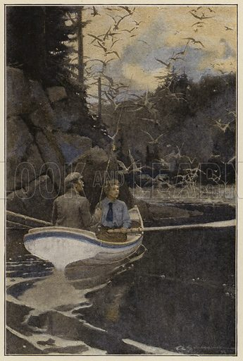 She took the oars and rowed me slowly around the shore. Illustration for Days Off and Other Digressions by Henry Van Dyke (Scribner, 1907).