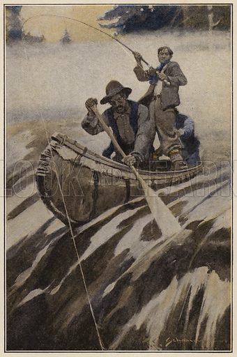 A notion to go down stream struck the salmon. Illustration for Days Off and Other Digressions by Henry Van Dyke (Scribner, 1907).