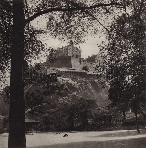 Castle Rock and the Ramparts. Illustration for Edinburgh, A Book of Photographs by S W Colyer (Ward Lock, 1947).  Gravure printed.