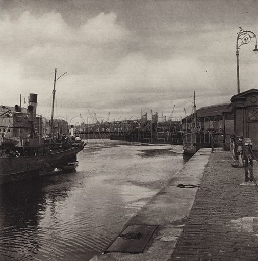 Leith Docks. Illustration for Edinburgh, A Book of Photographs by S W Colyer (Ward Lock, 1947).  Gravure printed.