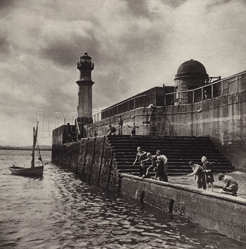 In Newhaven Harbour. Illustration for Edinburgh, A Book of Photographs by S W Colyer (Ward Lock, 1947).  Gravure printed.