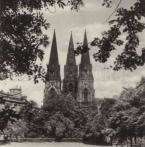 St Mary's Cathedral. Illustration for Edinburgh, A Book of Photographs by S W Colyer (Ward Lock, 1947).  Gravure printed.