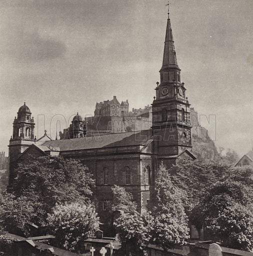St Cuthbert's Church. Illustration for Edinburgh, A Book of Photographs by S W Colyer (Ward Lock, 1947).  Gravure printed.