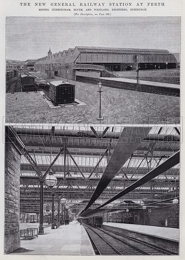 The New General Railway Station at Perth. Illustration for Engineering, An Illustrated Weekly Journal, 16 August 1889.