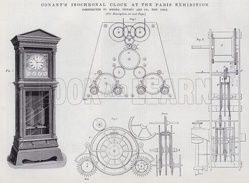 Conant's Isochronal Clock at the Paris Exhibition. Illustration for Engineering, An Illustrated Weekly Journal, 6 September 1889.