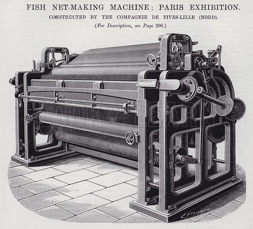 Fish Net-Making Machine; Paris Exhibition. Illustration for Engineering, An Illustrated Weekly Journal, 4 October 1889.