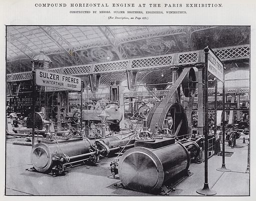 Compound Horizontal Engine at the Paris Exhibition. Illustration for Engineering, An Illustrated Weekly Journal, 11 October 1889.