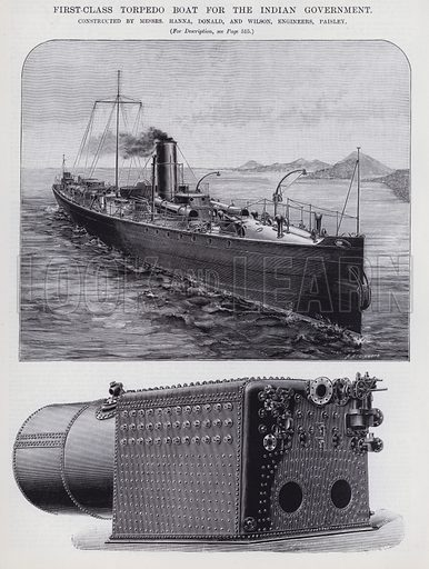 First-Class Torpedo Boat for the Indian Government. Illustration for Engineering, An Illustrated Weekly Journal, 1 November 1889.
