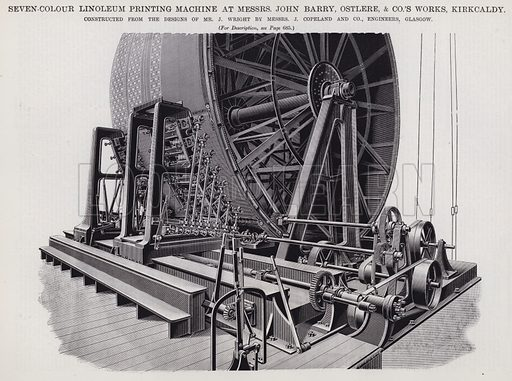 Seven-Colour Linoleum Printing Machine at Messrs John Barry, Ostlere, and Co's Works, Kirkcaldy. Illustration for Engineering, An Illustrated Weekly Journal, 13 December 1889.