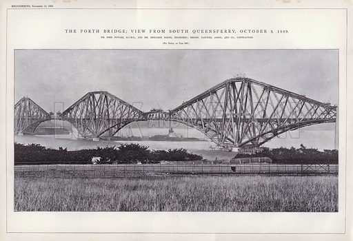 The Forth Bridge; View from South Queensferry, 9 October 1889. Illustration for Engineering, An Illustrated Weekly Journal, 15 November 1889.