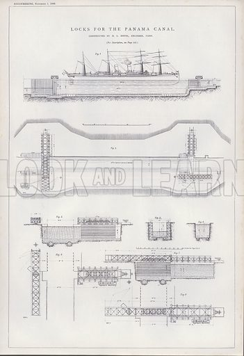 Locks for the Panama Canal. Illustration for Engineering, An Illustrated Weekly Journal, 1 November 1889.