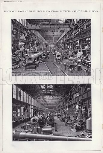 Heavy Gun Shops at Sir William G Armstrong, Mitchell, and Co's, Ltd, Elswick. Illustration for Engineering, An Illustrated Weekly Journal, 18 October 1889.