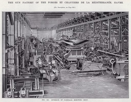 The Gun Factory of the Forges Et Chantiers De La Mediterranee, Havre. Illustration for Engineering, An Illustrated Weekly Journal, 9 May 1890.