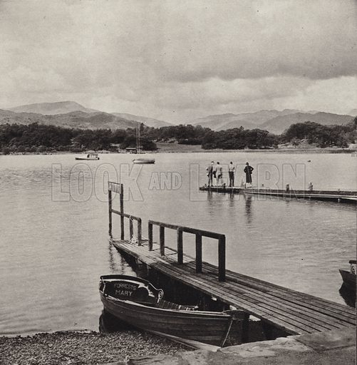 Waterhead. Illustration for The Charm of the English Lakes, A Book of Photographs by S W Colyer (Ward Lock, 1940).  Gravure printed.