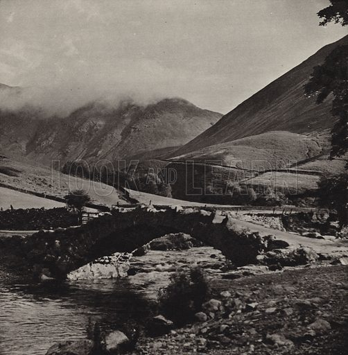 Wasdale Head. Illustration for The Charm of the English Lakes, A Book of Photographs by S W Colyer (Ward Lock, 1940).  Gravure printed.