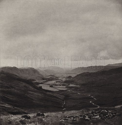 Eskdale. Illustration for The Charm of the English Lakes, A Book of Photographs by S W Colyer (Ward Lock, 1940).  Gravure printed.
