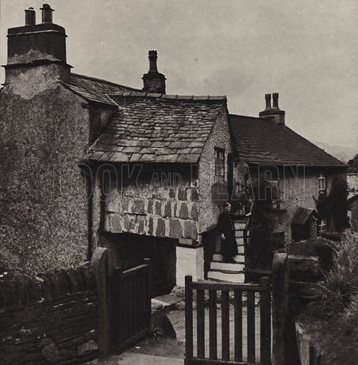 Pillared Cottage, Hawkshead. Illustration for The Charm of the English Lakes, A Book of Photographs by S W Colyer (Ward Lock, 1940).  Gravure printed.