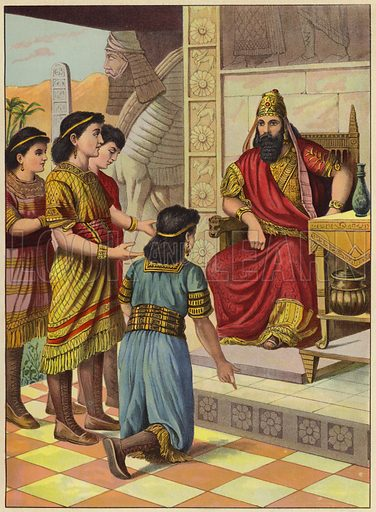 The brave Hebrew boys. Illustration for Following Jesus, A Bible Picture Book for the Young by D J D (Partridge, c 1895).