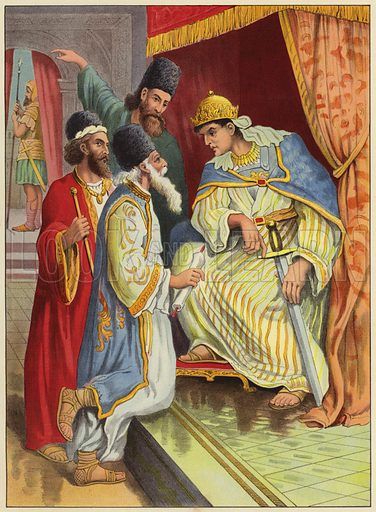 Herod enquiring of the wise men. Illustration for Following Jesus, A Bible Picture Book for the Young by D J D (Partridge, c 1895).