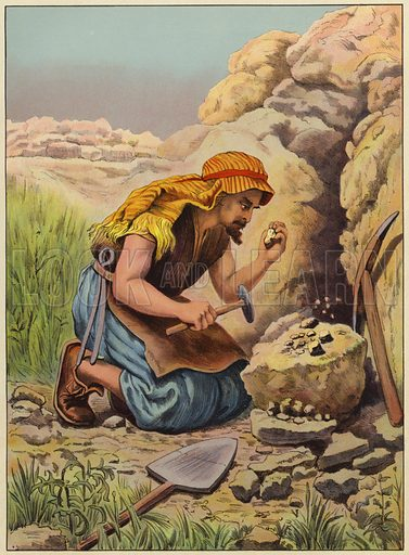 Searching for hidden treasure. Illustration for Following Jesus, A Bible Picture Book for the Young by D J D (Partridge, c 1895).