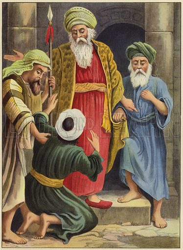 The unmerciful servant condemned. Illustration for Following Jesus, A Bible Picture Book for the Young by D J D (Partridge, c 1895).