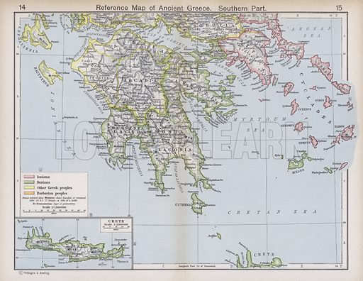 Reference Map of Ancient Greece, Southern Part. Illustration for Historical Atlas by William R Shepherd (3rd and revised edition, University of London Press, 1924).