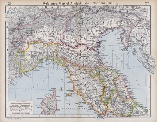 Reference Map of Ancient Italy, Northern Part. Illustration for Historical Atlas by William R Shepherd (3rd and revised edition, University of London Press, 1924).