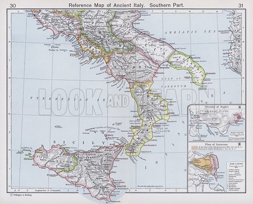 Reference Map of Ancient Italy, Southern Part. Illustration for Historical Atlas by William R Shepherd (3rd and revised edition, University of London Press, 1924).